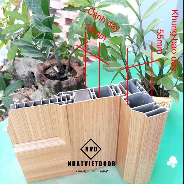 Cấu tạo mặt cắt cửa nhựa giả gỗ Đài Loan