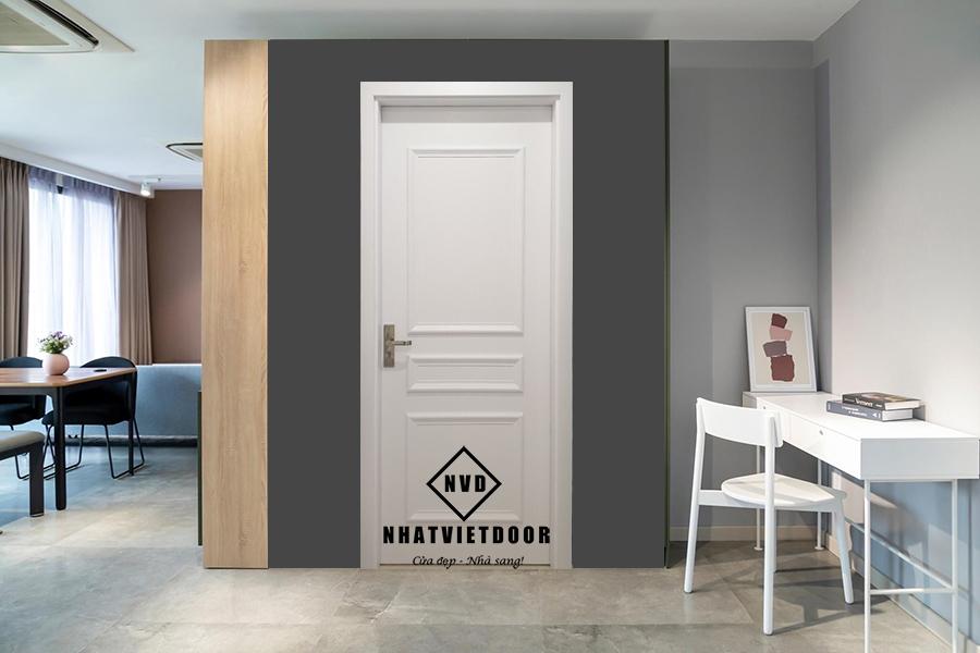 Mẫu cửa nhựa gỗ Composite tân cổ điển màu trắng